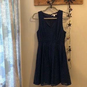 Francesca's Navy blue eyelet v-neck dress